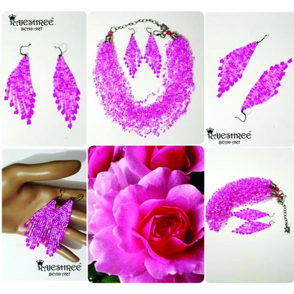 Air Crochet Blush Pink Beaded Necklace Set