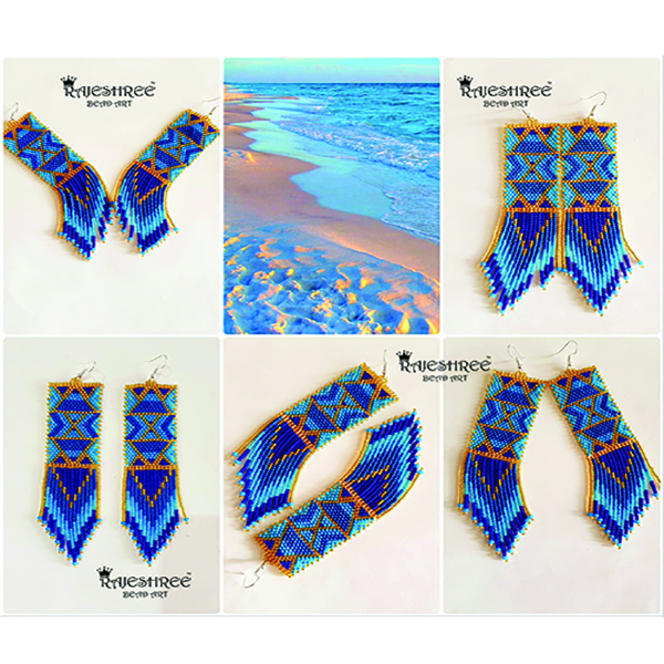 Blue Occean and Golden Sand earring