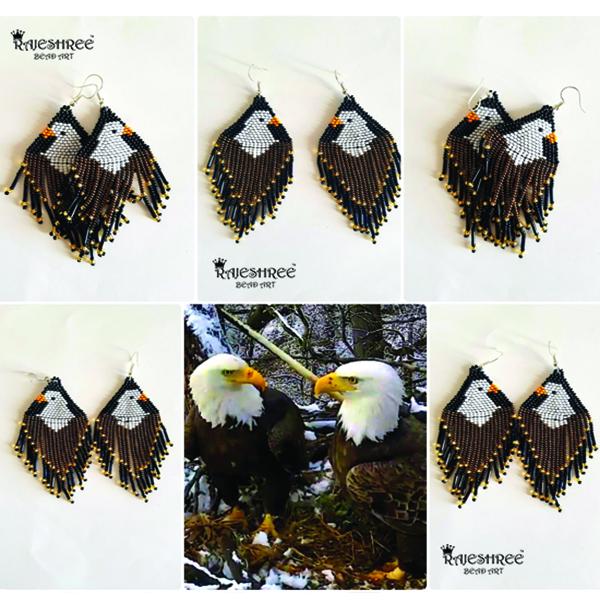 Seed Beads Eagle Earring