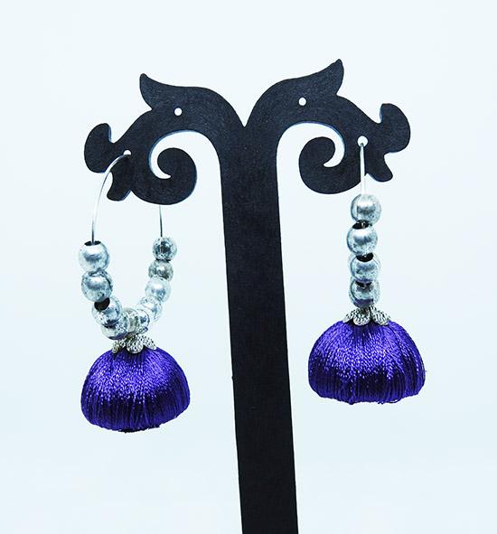 Set of 3, Silk thread Jhumka with Silver hoops