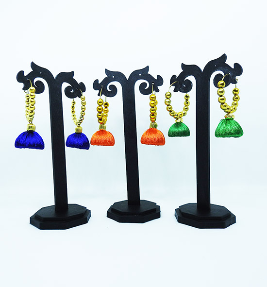 Set of 3, Silk thread Jhumka with Golden hoops