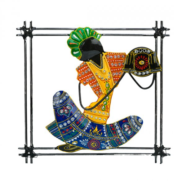 Wall piece Sitting Musician with Tambourine