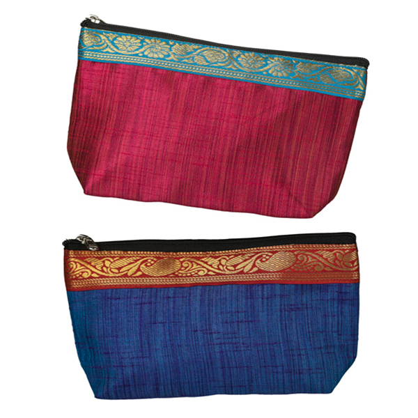 Set of 2 Silk Pouches - Pink and Blue