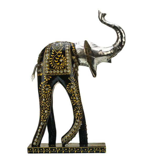 Tall Black Metal Elephant