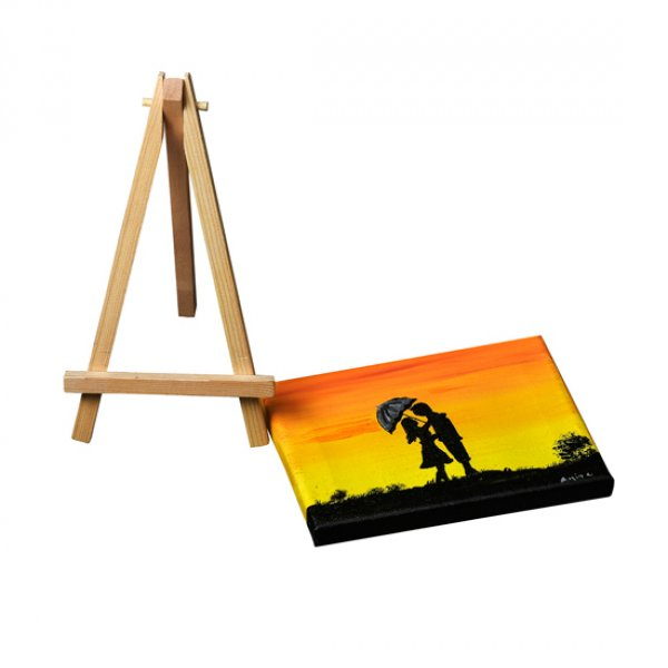 Hand painted canvas with wooden stand - Couple with umberella at Sunset