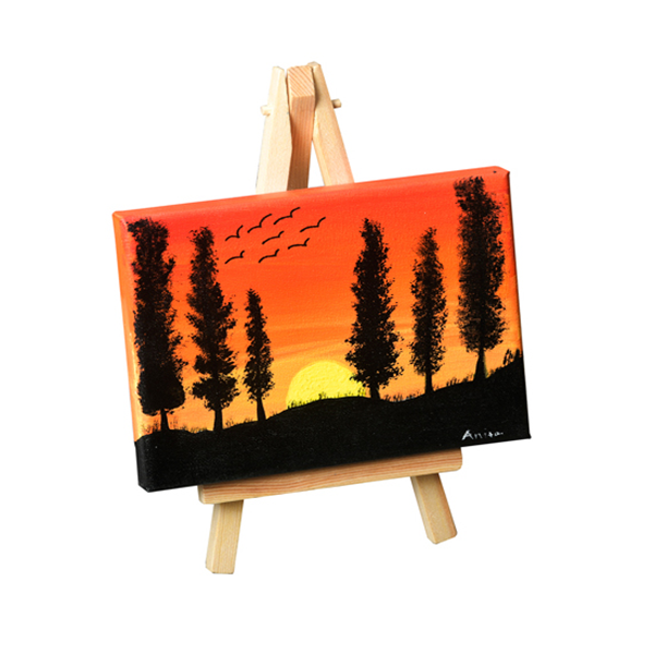 Hand painted canvas with stand - Trees at Sunset