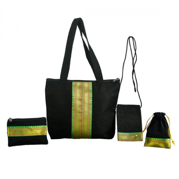 Black Set Bag with Golden Zari, including Mobile Pouch, Mini Batwa and Mini Purse