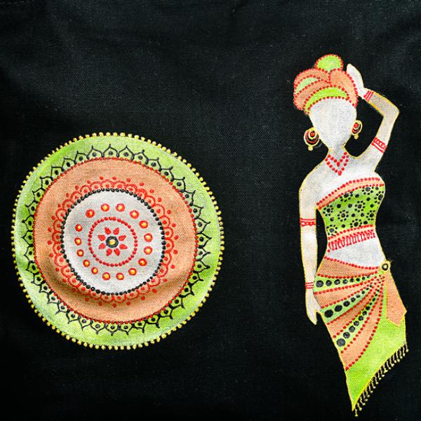 Tote Bag set - Tribal women painting