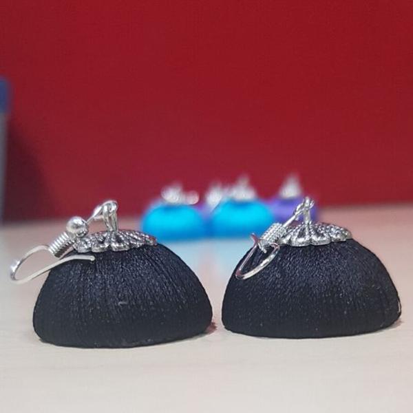 Black Silk thread with silver cap Jhumka