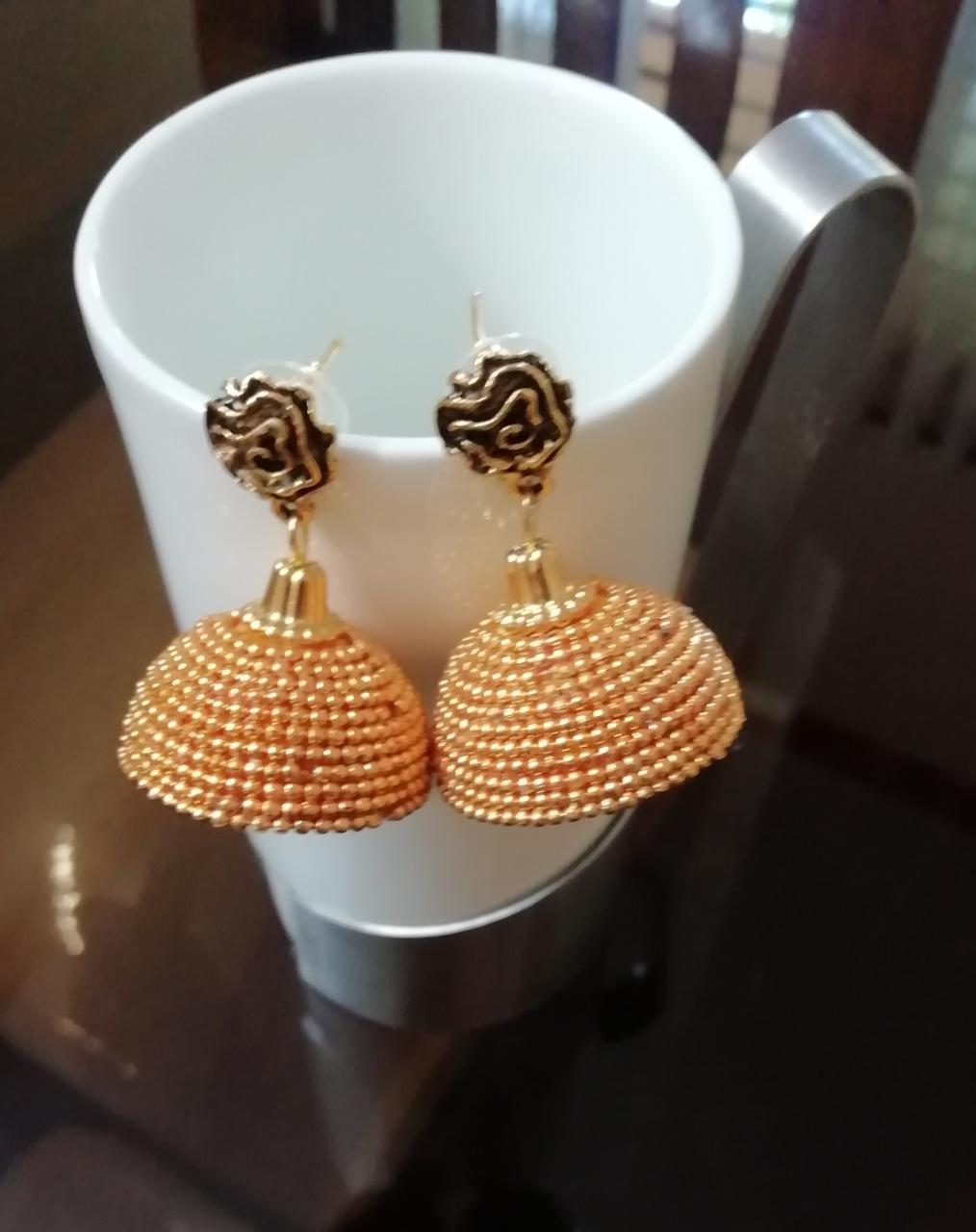 Golden beads jhumka with Rose Stud