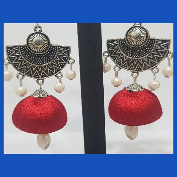 Red Silk thread Jhumka with white pearl and silver dangling