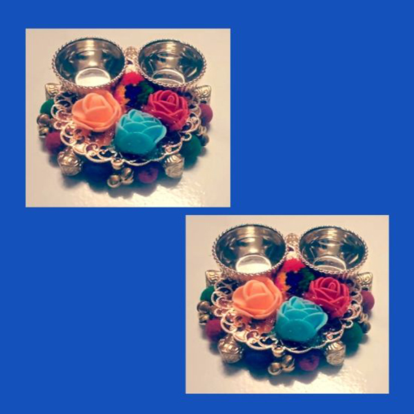 Set of 2, Round shaped HaldiKumkum box