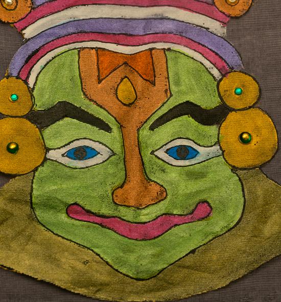 Black Chanderi Dupatta with Kathakali painting