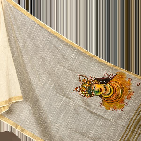 White Dupatta with Handpainted Krishna