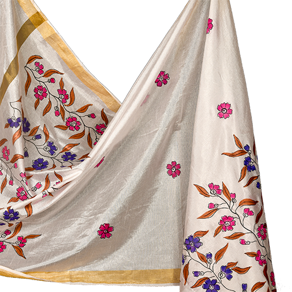 White Dupatta with hand painted Floral Design