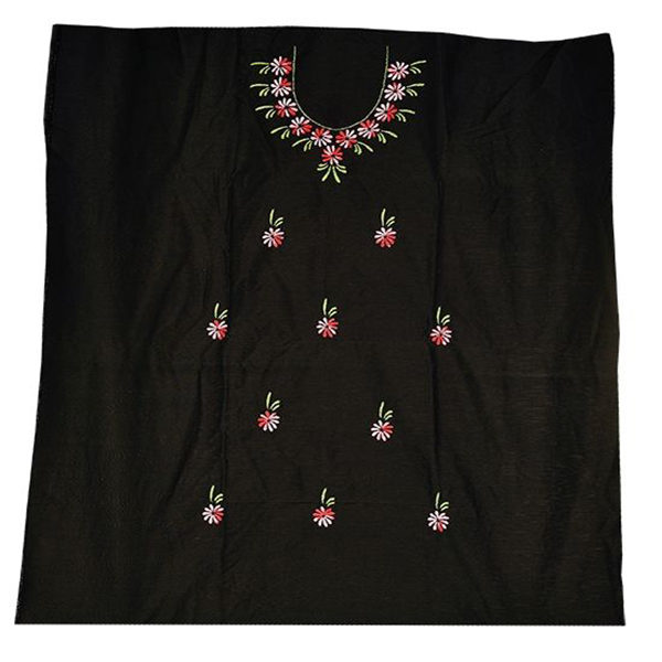 2.5 meters, Cotton Silk Black Color Kurta Material with hand Embroidery
