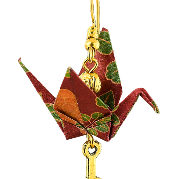 Origami red crane with metal feather