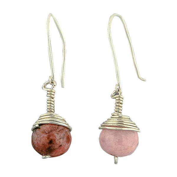 Silver Rhodonite earring