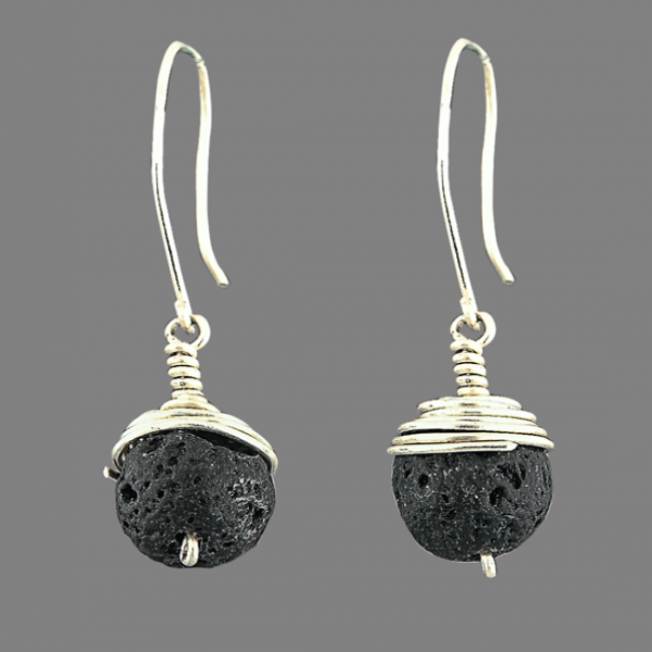 Silver with lava stone earring