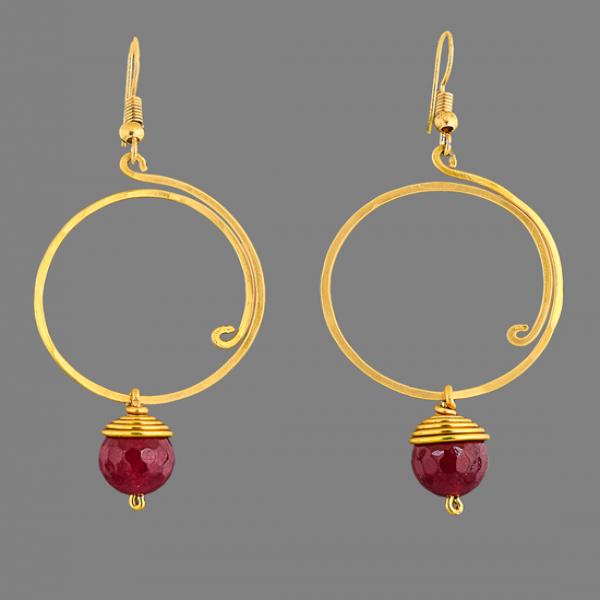 Aluminium loop earring with glass bead