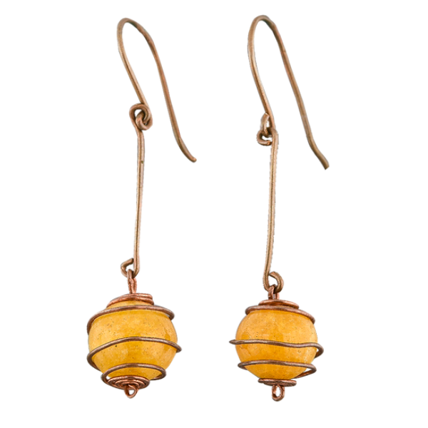 Copper Earring with yellow agate