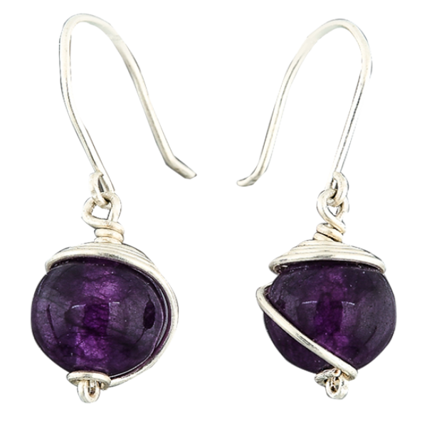 Silver earring with amethyst drop