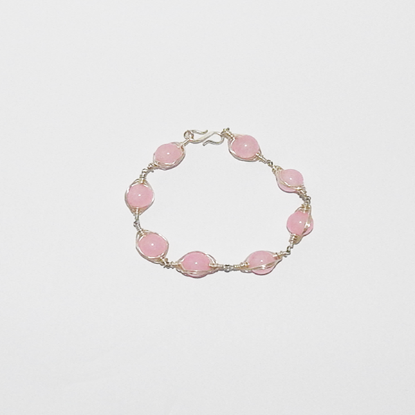 Bracelet with eight Rose Quartz natural stone beads in genuine Silver