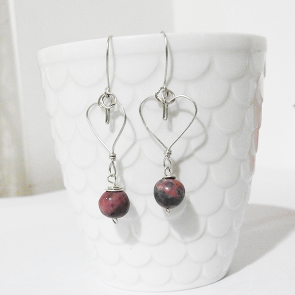 Heart shaped genuine silver earrings with Rhodonite natural stone