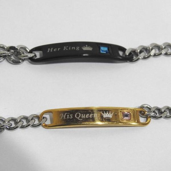 Her King and His Queen - Couple Metal Bracelet