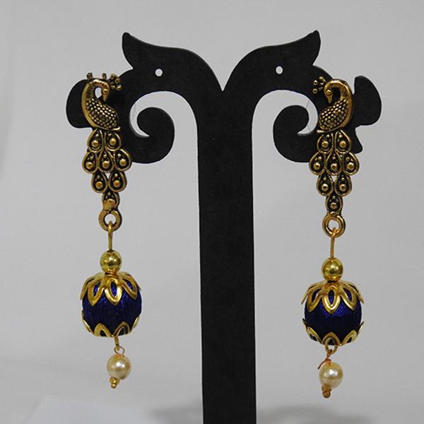 Peacock Stud Blue ball earring