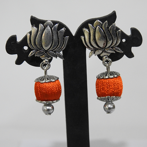 Oxidised Lotus stud Orange ball earring