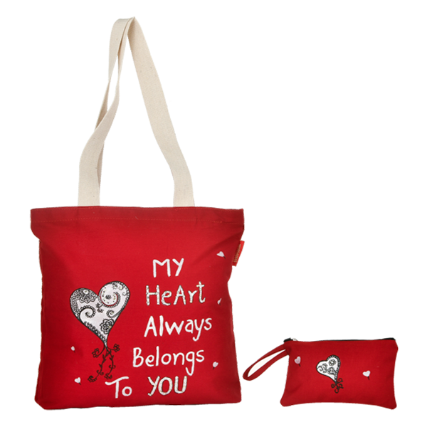 Red Cotton Tote bag with Love Quotes
