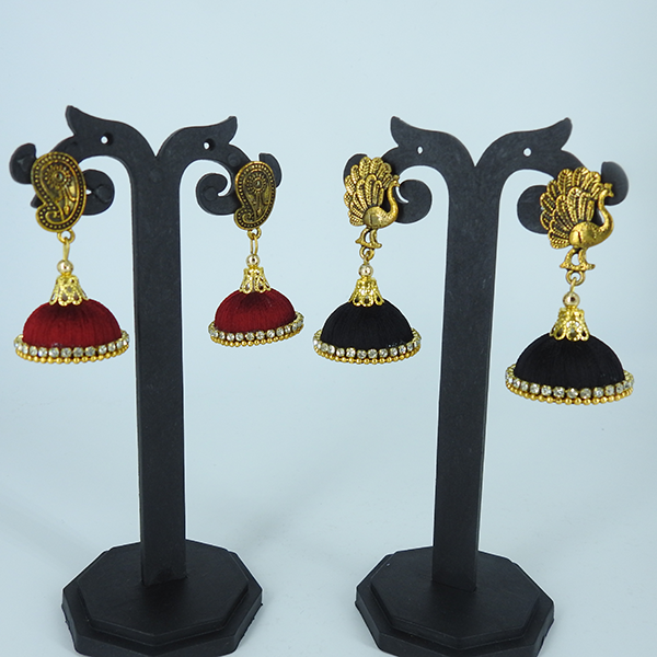 Set of 2, Stones Studded Jhumka - Maroon & Black