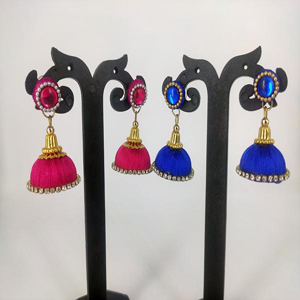 Set of 2, Colored Stone Stud Jhumka (Blue & Pink)