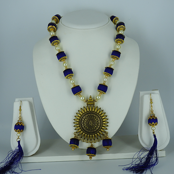 Silk Thread bead Necklace and Earring Set