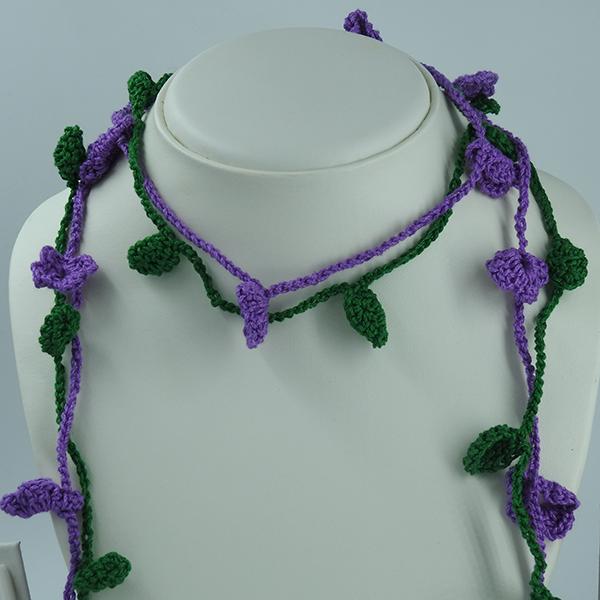 Crochet Green & Purple Necklace