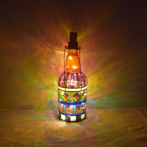Decorative Glass Bottle Painting with Geometrical design