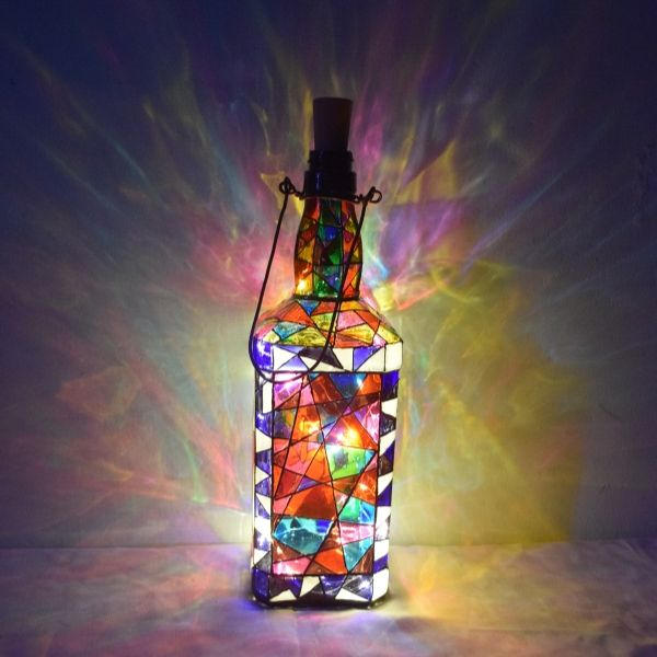 Decorative Glass Bottle with Radha Krishna Painting