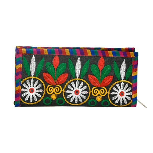 Kutch Embroidery clutch in Black with White Flower