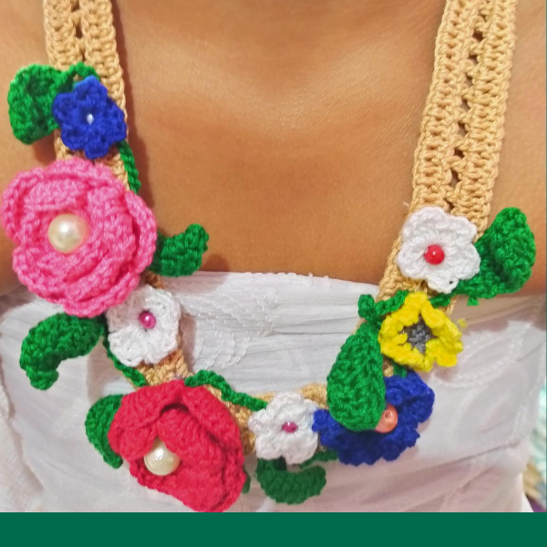 Crochet Long Necklace with Multiple color Flowers