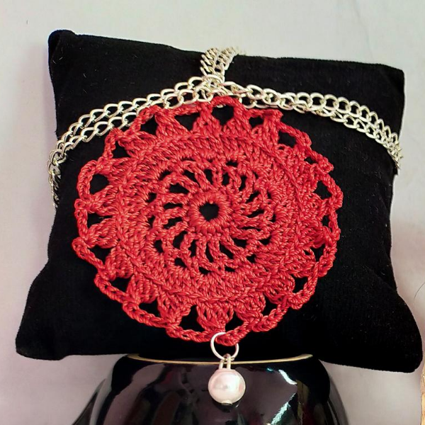 Red Silk Thread Crochet necklace with Matching Earings