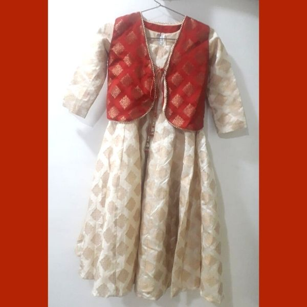 Traditional Kurta and Jacket for Girl in Brocade Material
