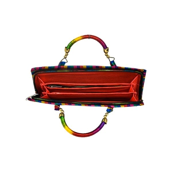 Kutch Garba embroidered clutch with Handle in Black