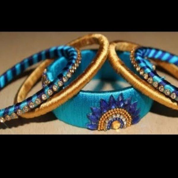 Set of Handmade Silk Bangles designed with Moti & Kundan in Colors