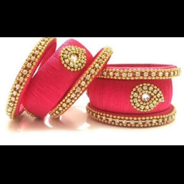 Set of Handmade Silk Bangles designed with Moti & Kundan Available in 4 different colors