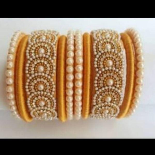 Set of Handmade Silk Bangles designed with diamonds & Kundan