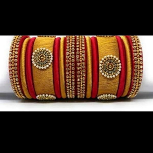 Set of Handmade Silk Bangles designed with Moti & Kundan in Yellow
