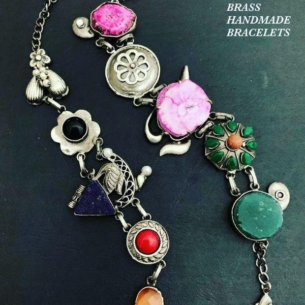 Semi precious stone and brass metal handmade Bracelate