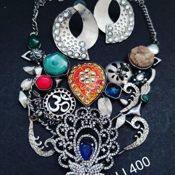 Semi precious stone and brass metal handmade Necklace Set