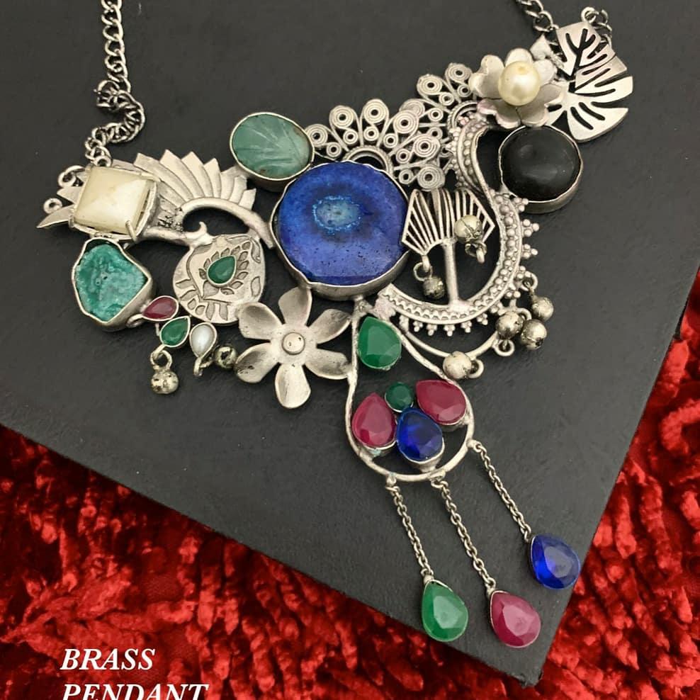 Semi precious stone and brass metal handmade Pendant Necklace